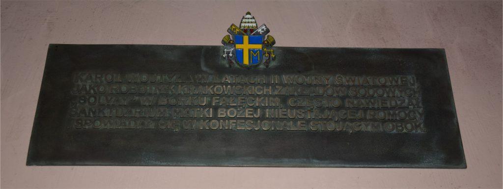 Tablica pamiątkowa związana z konfesjonałem Jana Pawła II w kościele Redemptorystów
