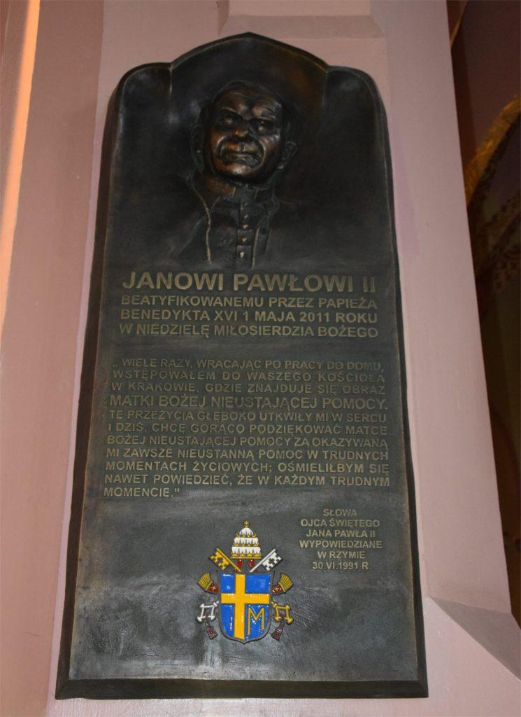 Tablica poświęcona beatyfikacji Jana Pawła II