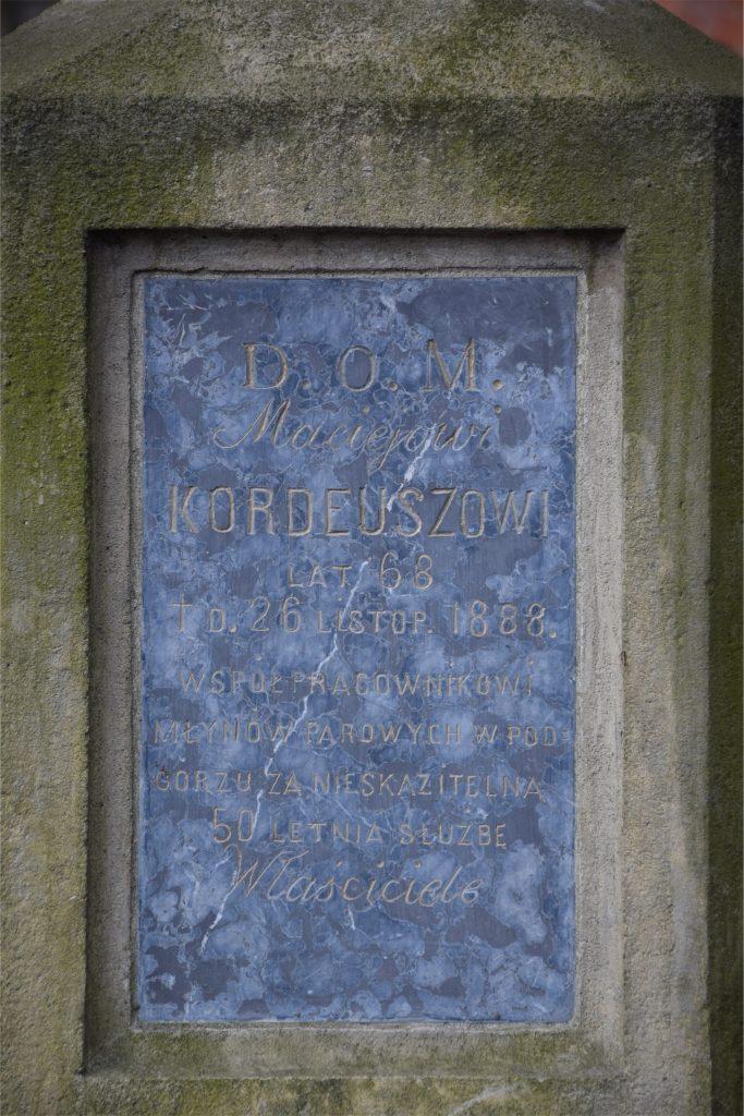 Epitafium na grobie młynarza na starym cmentarzu Podgórskim